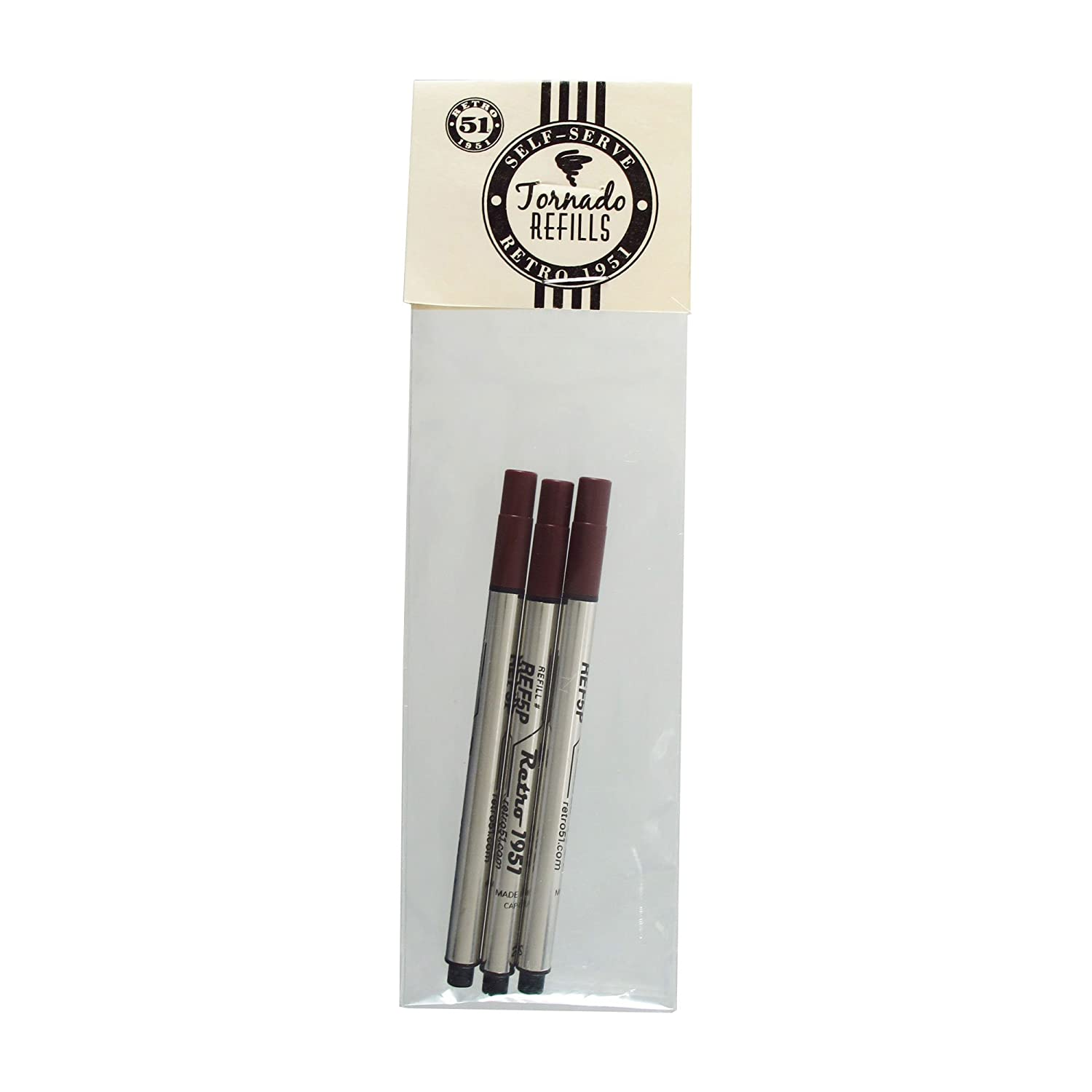 3-Pack Black REF5P-B Retro 1951 Short Capless Rollerball Ink Refill