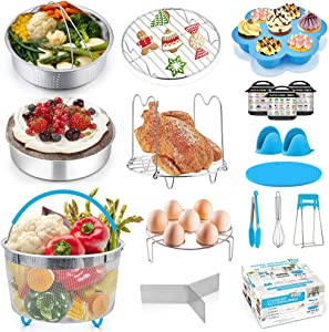 18 Pcs Instant Pot Accessories, P&P CHEF Blue Pressure Cooker Accessory Set for Cooking Steaming Serving - 2 Steamer Baskets, Cake Pan, Egg Bites Mold and Kitchen Tools (For 6/8 Qt)