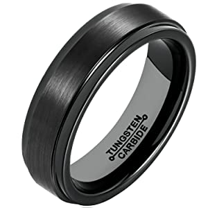 MNH Ring for Men 6mm Black Tungsten Carbide Wedding Band Matte Finish Polished Edge Comfort Fit