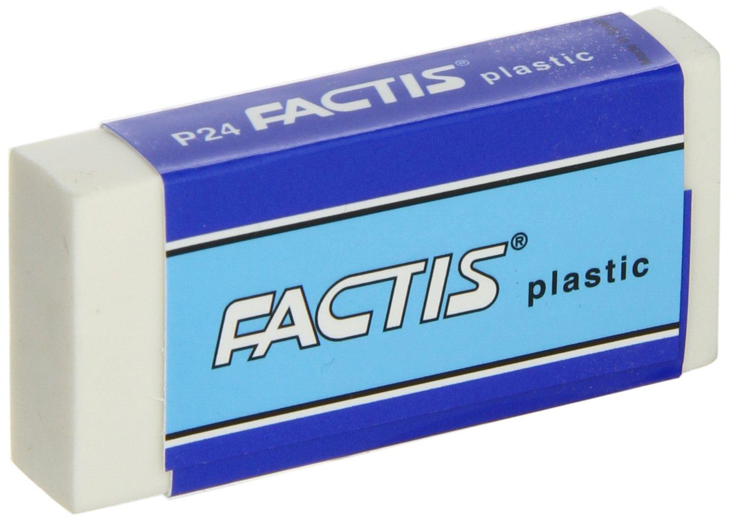 Factis Graphite Plastic Vinyl Eraser - Box of 24 - White by Factis (Image #1)