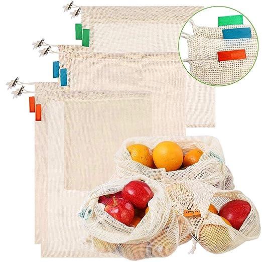 LANGING 6pc Bolsa Reutilizable Algodon de Vegetales,Bolsa de ...