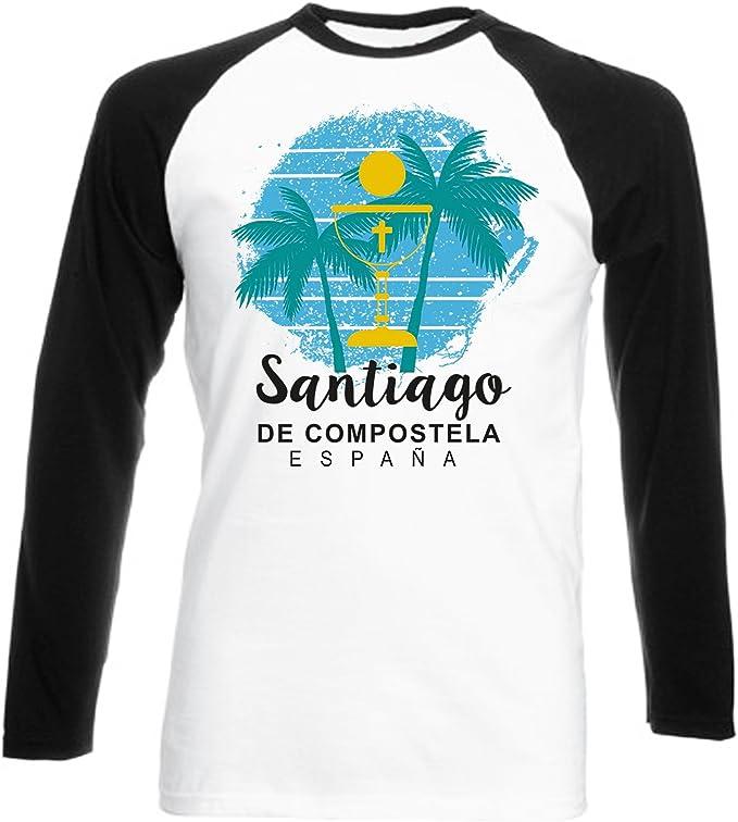 teesquare1st Santiago DE COMPOSTELA Spain Camiseta DE Mangas Negra LARGAS T-Shirt: Amazon.es: Ropa y accesorios