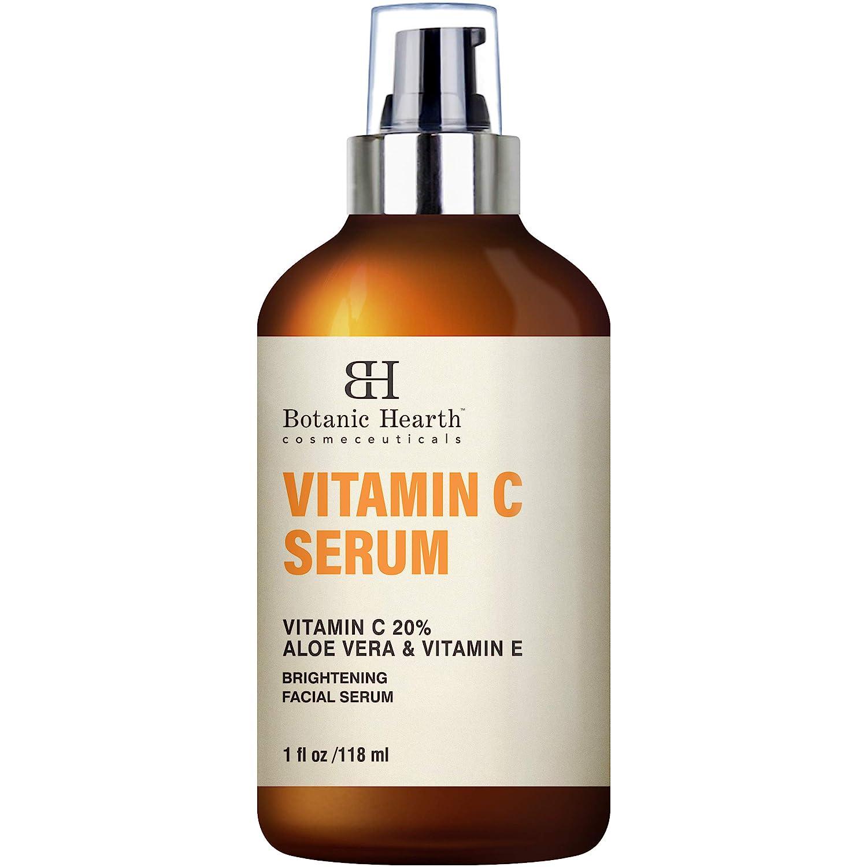 BOTANIC HEARTH Vitamin C Serum for Face - Skin Brightening Facial Serum with Aloe Vera & Vitamin E, Anti Aging, Advanced Skin Care - 1 fl oz