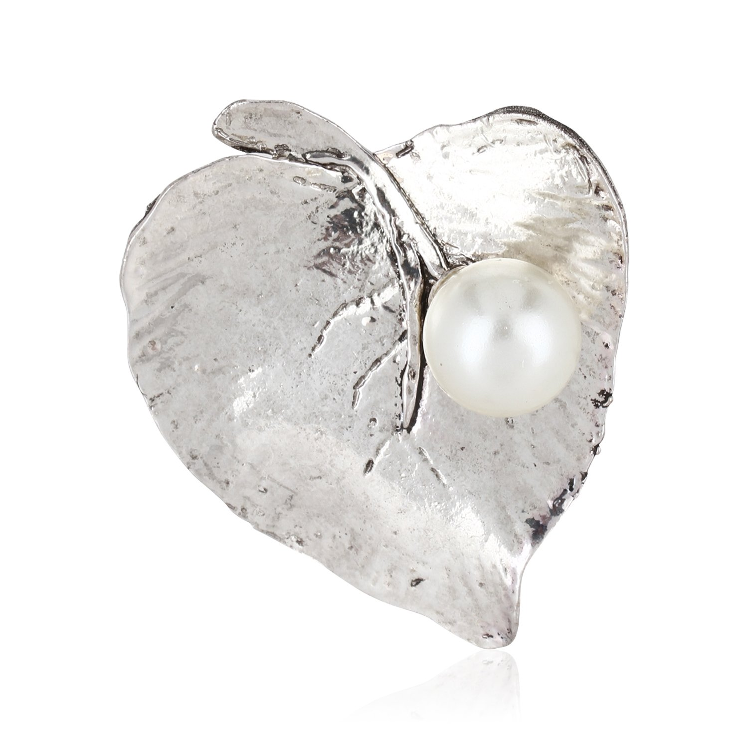 Fasherati Fashion Leaf attached pearl Brooches for girls and women