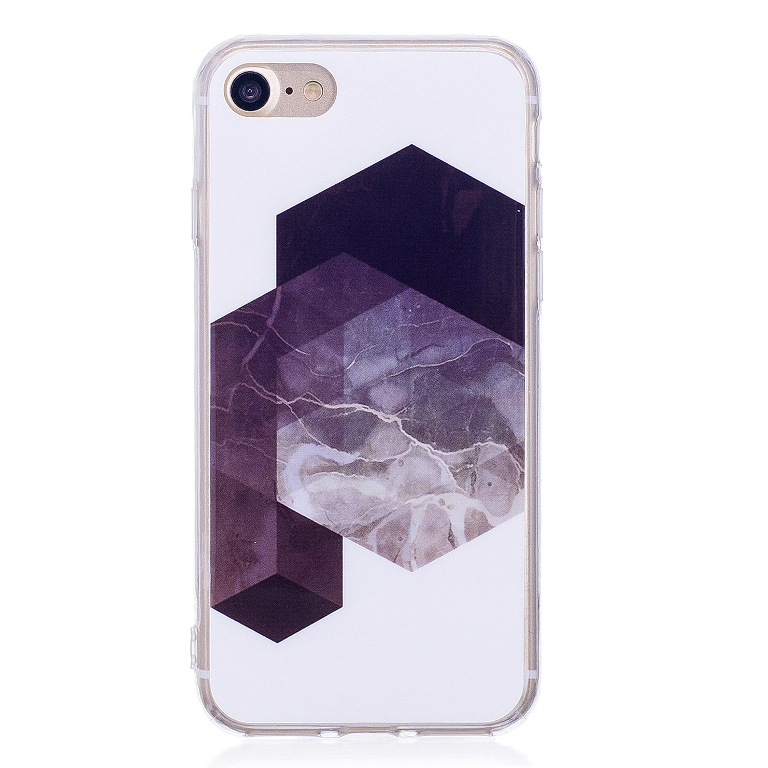 Marble Case for iPhone 7, Shinyzone iPhone 8 Silicone TPU Soft Case, Shockproof Rubber Bumper Skin with [Lovely] Personalised Marble Print Quote Design Pattern