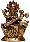 ELITE Brass Handcrafted with Antique Look Saraswati Goddess Idol (2.5x1.25.3.25-inch, Gold)