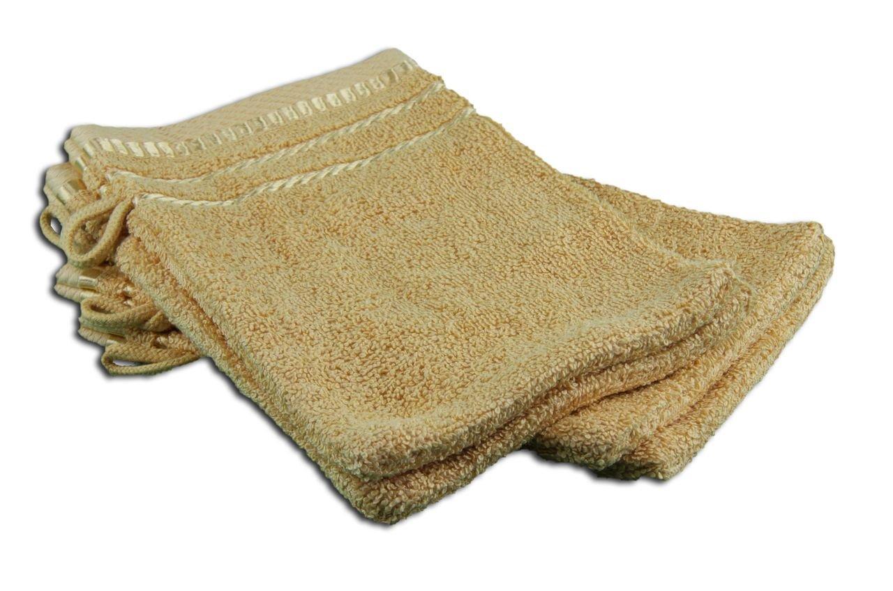 Gözze 101-0000-A1 Berlin - Juego de 4 manoplas de ducha (17/24 cm), algodón rizado, amarillo, 17 x 24 cm 101-0149-A1