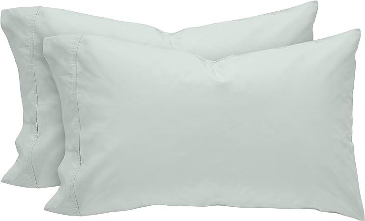Egret White Rivet Easy Care Set of 2 Standard Envelope Closure Pillowcase Set 100/% Percale Cotton
