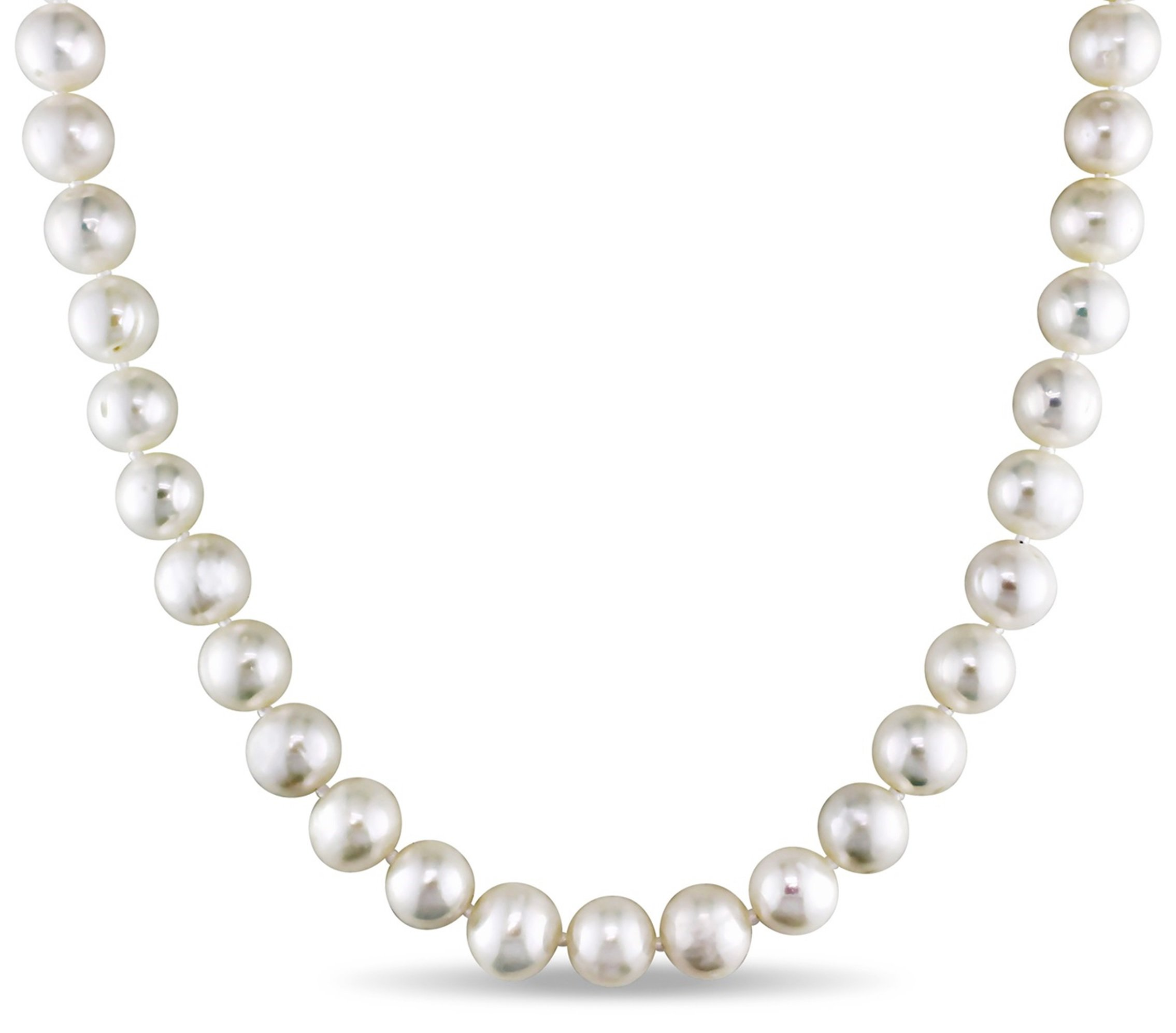 Sterling Silver and Freshwater Cultured A Quality Pearl Necklace (8-9mm), 18'' (White)
