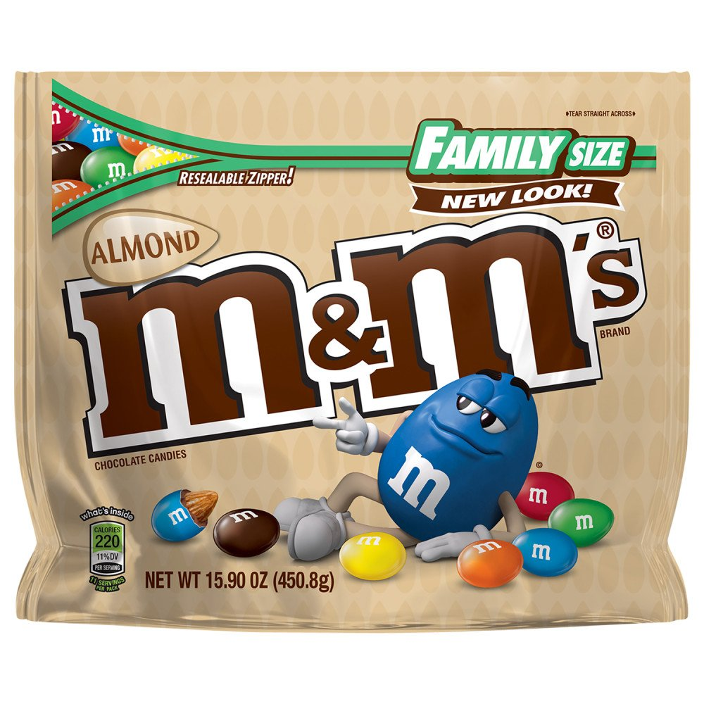 M&M'S Almond Chocolate Candy Family Size 15.9-Ounce Bag (Pack of 8) by M&M'S