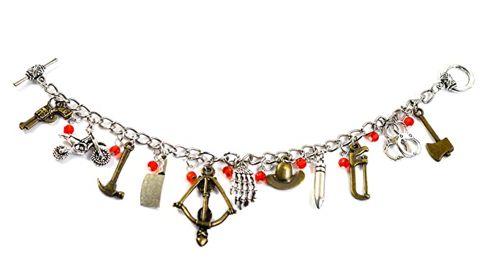 The Walking Dead Charm Bracelet - Zombie Pendant with Crossbow, Hatchet, Pistol and Rick Grimes Sheriff Hat