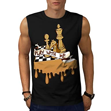 84938a475 wellcoda Play Chess with Me Mens Sleevless T-Shirt, Game Sport Top Black 3XL
