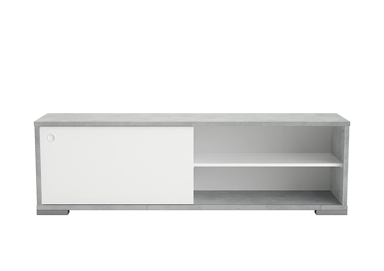 151,5 x 45,9 CM. Mobile Porta TV con Anta Scorrevole Colore Bianco e Cemento