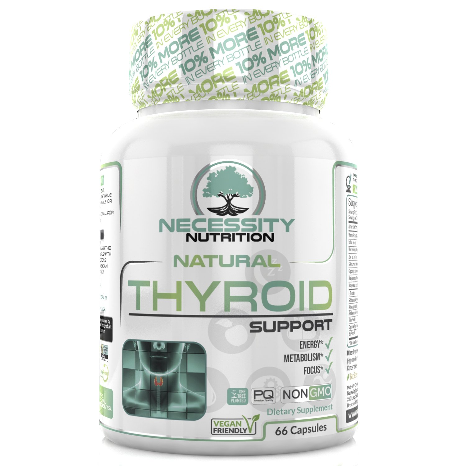 Thyroid Support Supplement Complex 66 Capsules - Boost Energy, Metabolism, Brain Function & Focus | Natural Weight Loss Formula | Non GMO - Contains Iodine, Vitamin B12, Zinc, Ashwagandha and Selenium by Necessity Nutrition