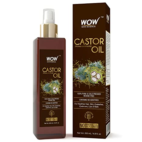 WOW 100% Pure Castor Oil - Cold Pressed - For Stronger Hair, Skin & Nails -  No Mineral Oil & Silicones - 200mL