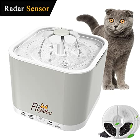 Flightbird 1.5m Radar Sensing Pet Water Fountain, 【2018 Newest】 3 Working Modes,2L Auto Super Silent Drinking Water Dispenser Feeder Bowl with LED Light & 3 Replacement Filters for Cat Dog Bird