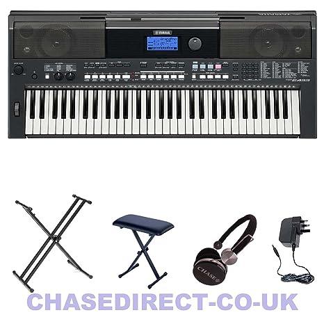 Yamaha PSR-E443 Piano eléctrico portátil con doble soporte cruzado y banco