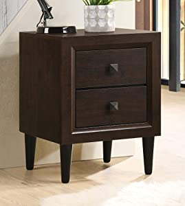 Depointer Life 2 Drawers Nightstand,Wood Bedside Storage Cabinet, Accent End Side Table Chest, Perfect for Home Furniture, Bedroom Living Room Accessories,Espresso