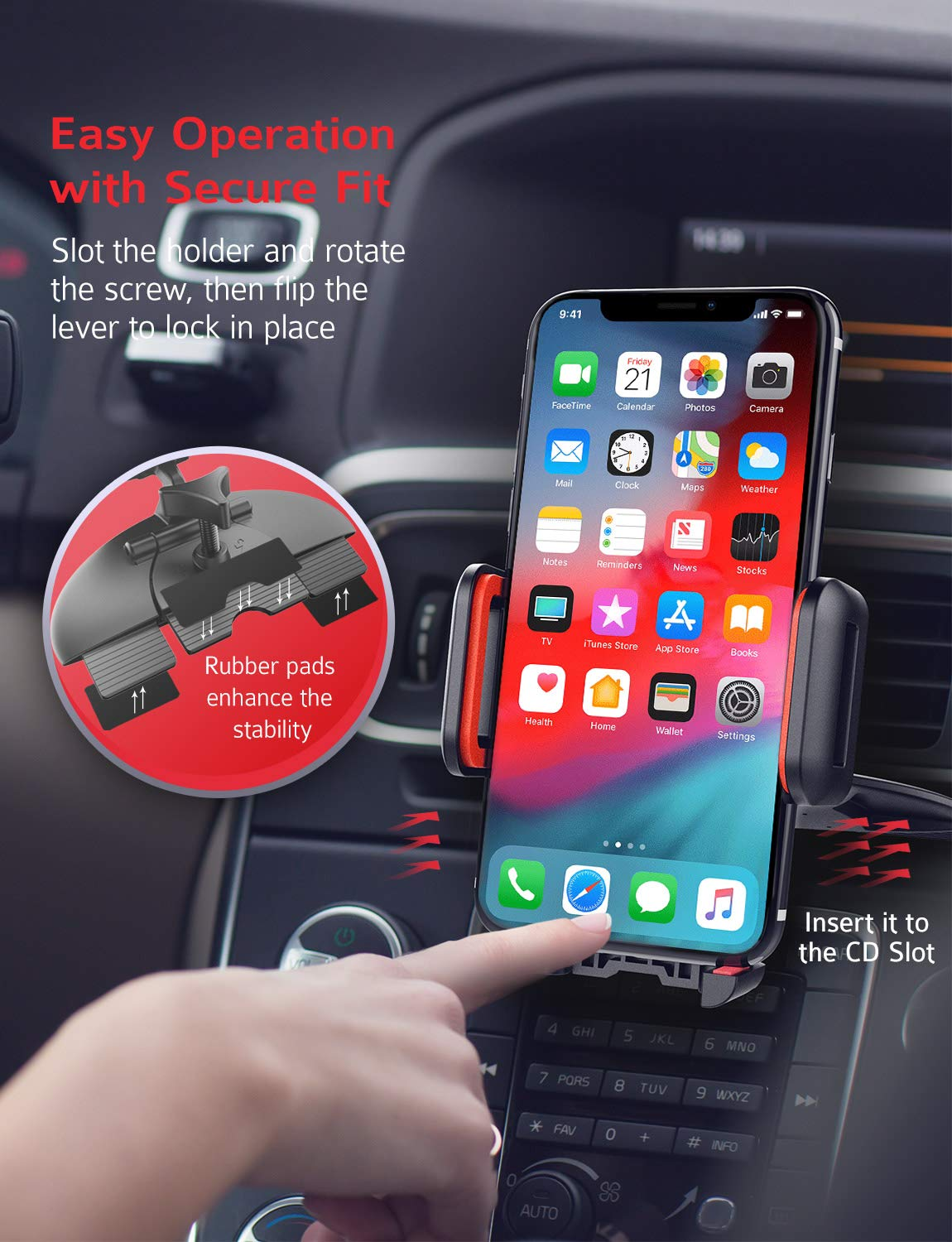 Mpow 051 Car Phone Mount, CD Slot Car Phone Holder, Car Mount with Three-Side Grips and One-Touch Design Compatible iPhone Xs MAX/XR/XS/X/8/8Plus, Galaxy S10/S10+/S10e/S9/S9+/N9/S8, Google, Huawei etc by Mpow (Image #3)