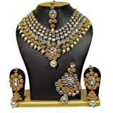 Shining Diva Bridal Kundan Necklace Set/Jewellery Set with Maang Tikka Passa and Earrings for Girls/Women(Red)(6848s)