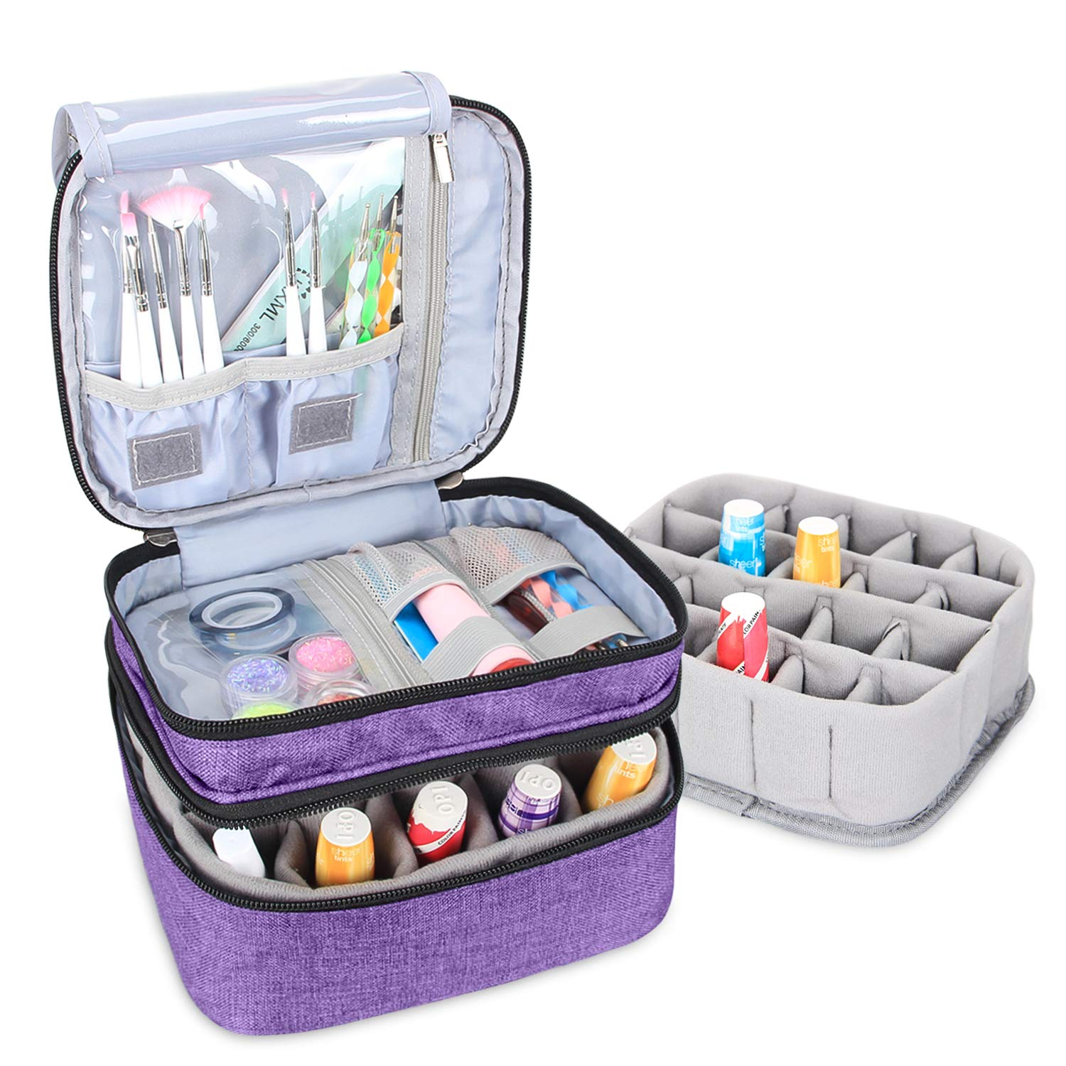 Luxja Nail Polish Carrying Case - Holds 20 Bottles (15ml - 0.5 fl.oz), Double-layer Organizer for Nail Polish and Manicure Set, Purple by LUXJA