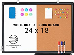 Combination White Board & Bulletin Cork Board 24 x 18 Whiteboard Magnetic, Combo Dry Erase Board with Black Aluminum Frame Hanging Message Board Wall Mounted for Homeschooling, Office, Classroom