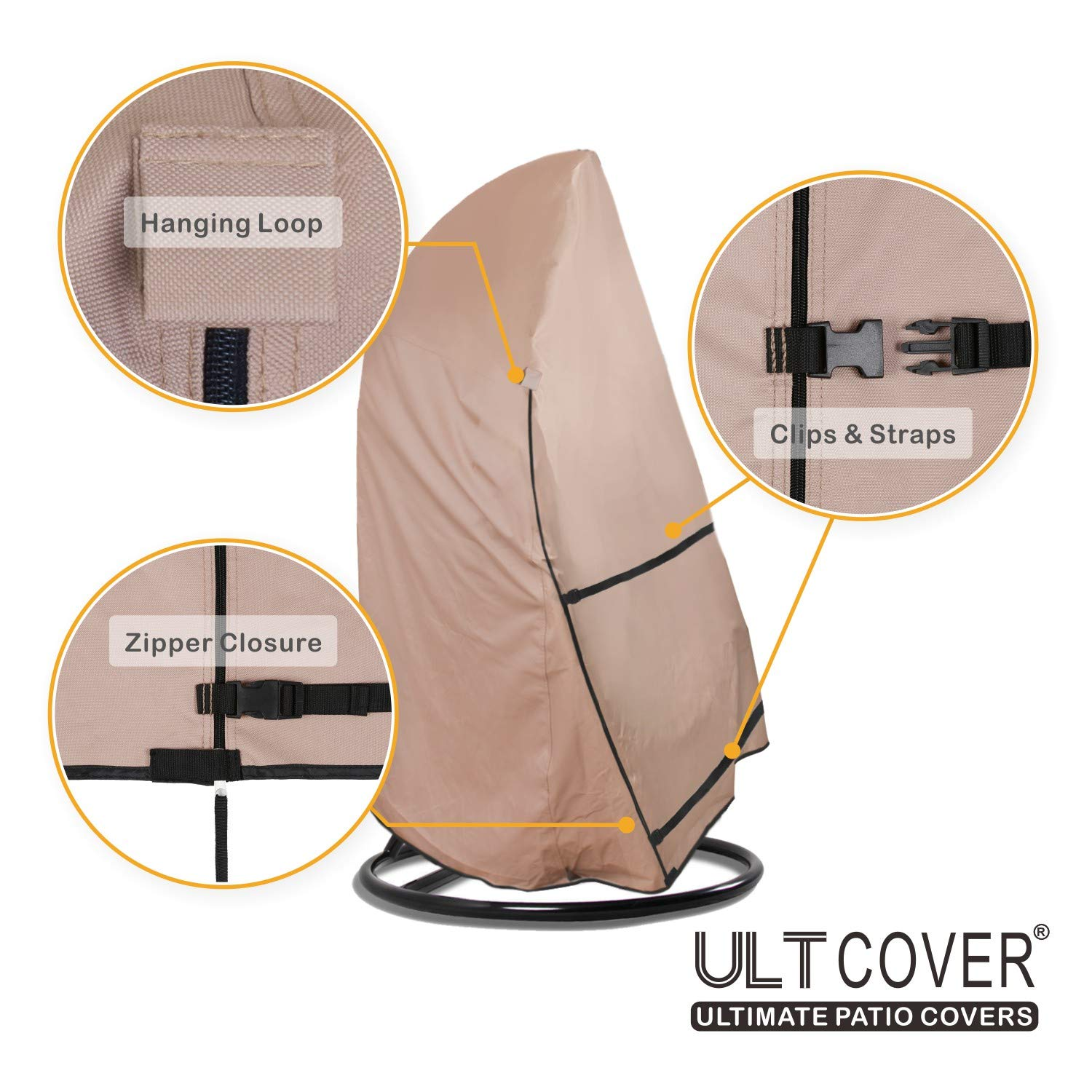 ULTCOVER Patio Hanging Egg Chair Cover - Waterproof Outdoor Single & 2 Person Swing Egg Chair with Stand Cover 56''(D) x 68''(H) by ULTCOVER (Image #4)