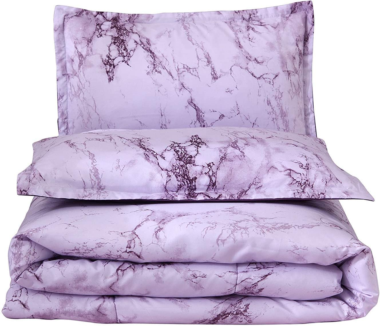 A Nice Night Marble Design Quilt Comforter Set Bed-in-a-Bag,Queen Blue-Marble