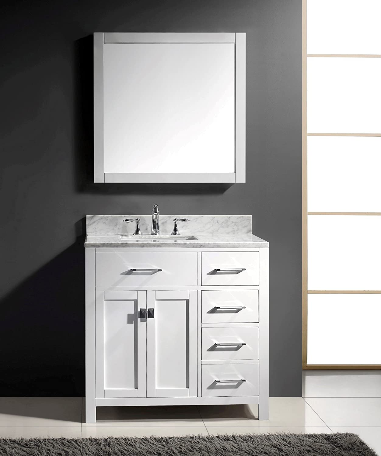 white single bathroom vanity. Virtu USA MS-2136R-WMSQ-WH 36-Inch Caroline Parkway Single Square Sink Bathroom Vanity, White - Amazon.com Vanity Y