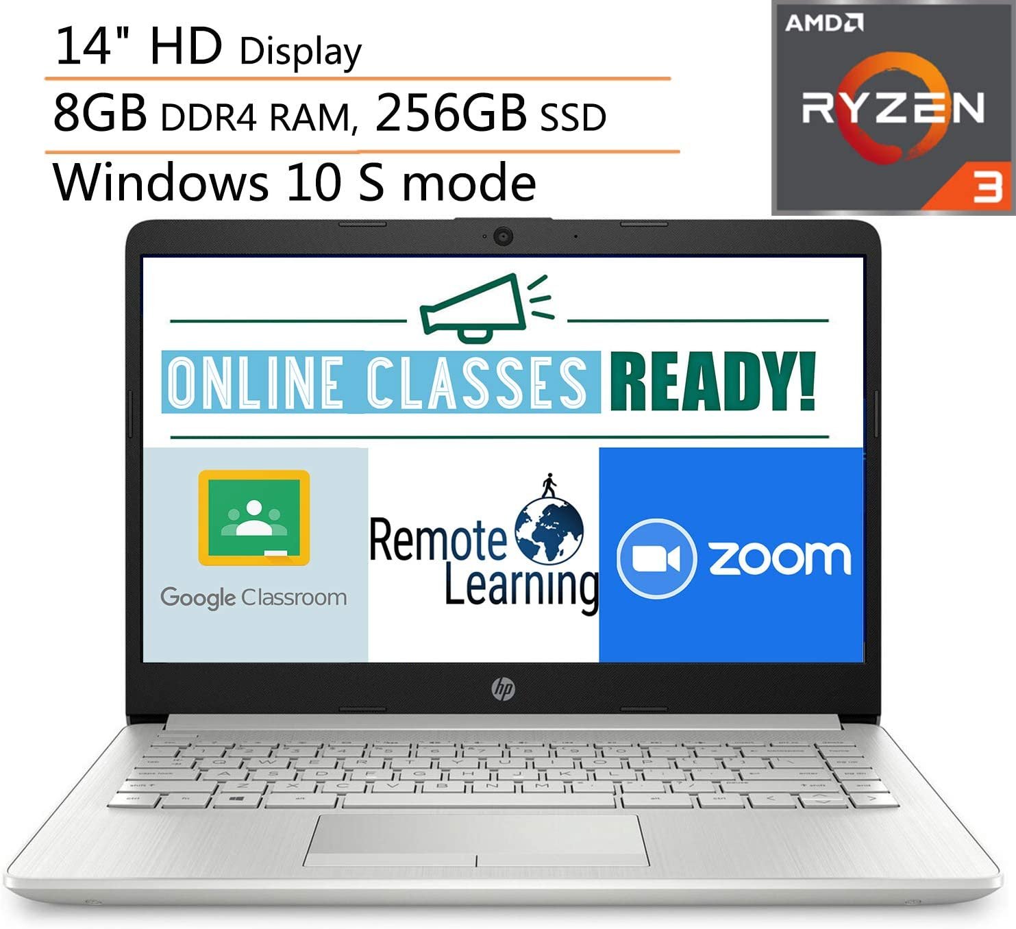 "HP 14 14"" Micro-Edge Laptop Computer, AMD Ryzen 3 3200U up to 3.5GHz (Beats i5-7200U), 8GB DDR4 RAM, 256GB SSD, 802.11AC WiFi, Bluetooth 4.2, Windows 10, iPuzzle Mouse Pad"