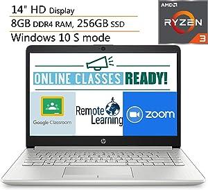 "HP 14 14"" Micro-Edge Laptop Computer, AMD Ryzen 3 3200U up to 3.5GHz (Beats i5-7200U), 8GB DDR4 RAM, 256GB SSD, 802.11AC WiFi, Bluetooth 4.2, Windows 10, iPuzzle Mouse Pad"
