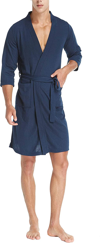 Soft Cotton Hotel Spa Bath Robe 3//4 Sleeve Lightweight Knee-Length Robe Blackflame Mens Kimono Waffle Robe