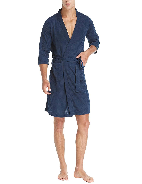 Vestaglia Kimono a Nido dApe da Uomo BLACKFLAME con Maniche a 3//4 in Morbido Cotone Lunghezza al Ginocchio Leggera