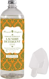 Florence de Dampierre 64 Load, Organic and All-Natural Savon de Marseille Soap, Liquid Laundry Detergent, 32 oz. Orange Blossom