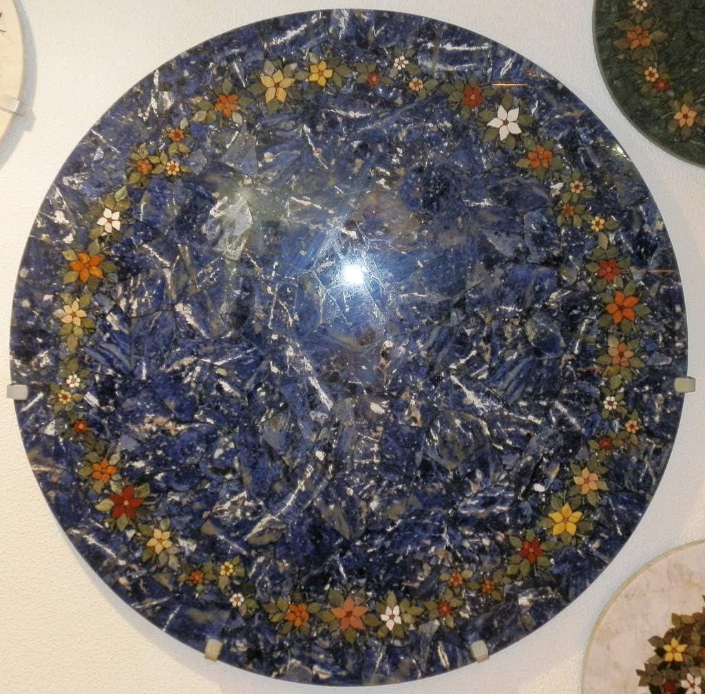 Agata Mineral Import Obra Maestra - Tablero de Mesa - Mosaico de Piedras Semi Preciosas - Sodalita Azul Decorada con Flores de diversas Piedras - Diámetro 110 cm