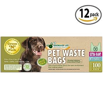 Amazon.com: Verde n pack extragrande perro bolsas de ...