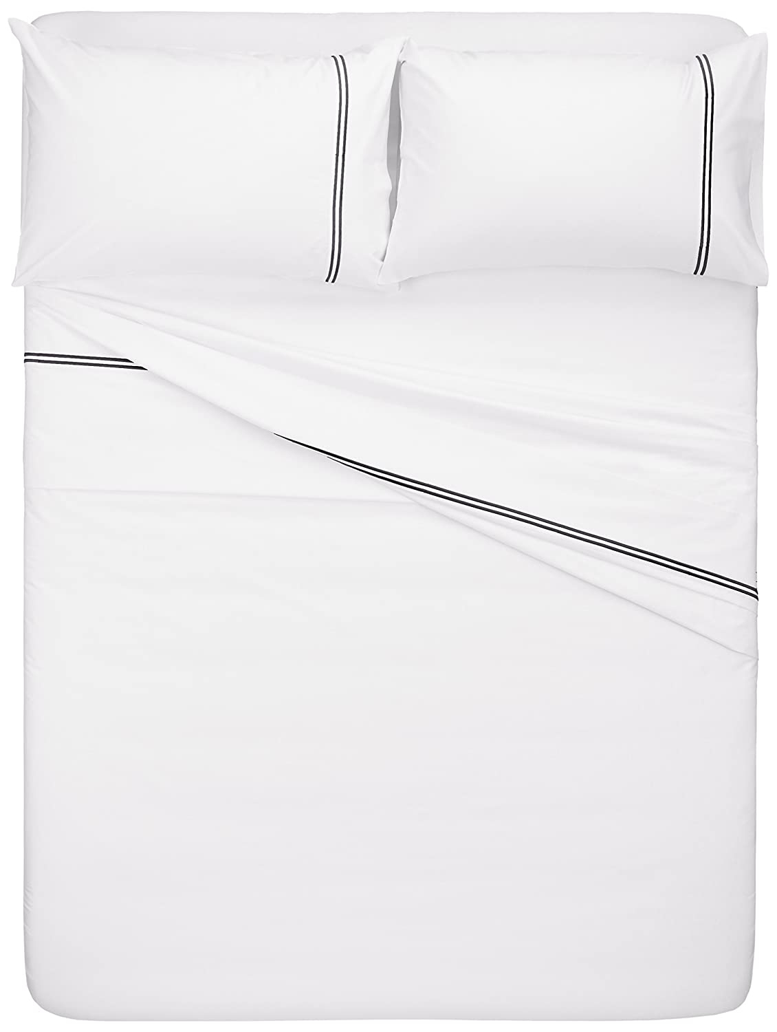 Pinzon 400-Thread-Count Egyptian Cotton Sateen Hotel Stitch Sheet Set Full Taupe HS-SS-TAP-FL