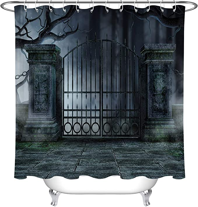Halloween Gothic Graveyard Gate Bathroom Shower Curtain Set Waterproof Fabric