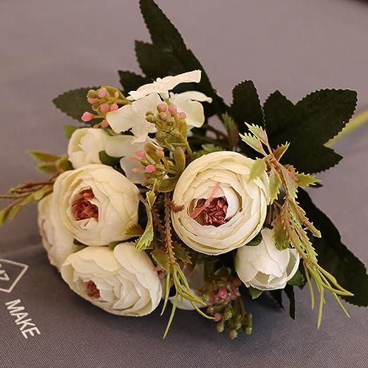 SWJFKDD Flores Artificiales Frescas,Real Busca Rosas Falsos ...