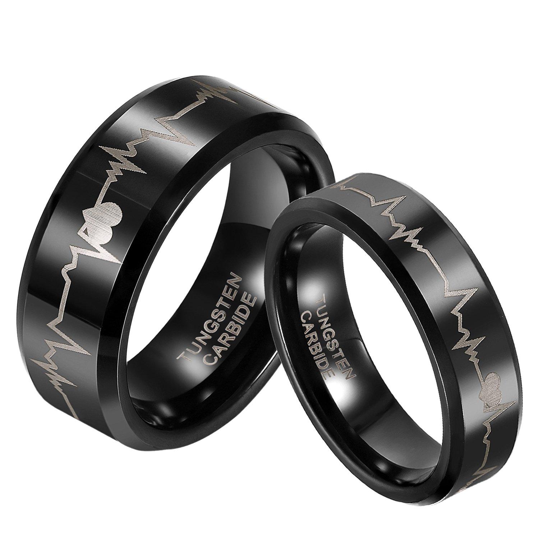 JewelryWe Bijoux 2 Pièces Bague Homme Femme Laser Pulsation Forever Love Acier Tungstène Couples Anneaux Avec Sac Cadeau(Email tailles) TLWVM-206-M; TLWVM-206-W