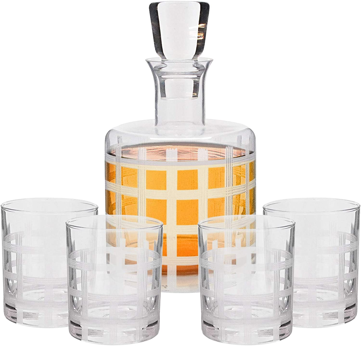 Style Setter 37 oz Decanter Set – Lead-Free Matching Decanter & Glassware for Everyday or Entertaining – Modern Glasses-Gift for Weddings, Birthdays & Holidays