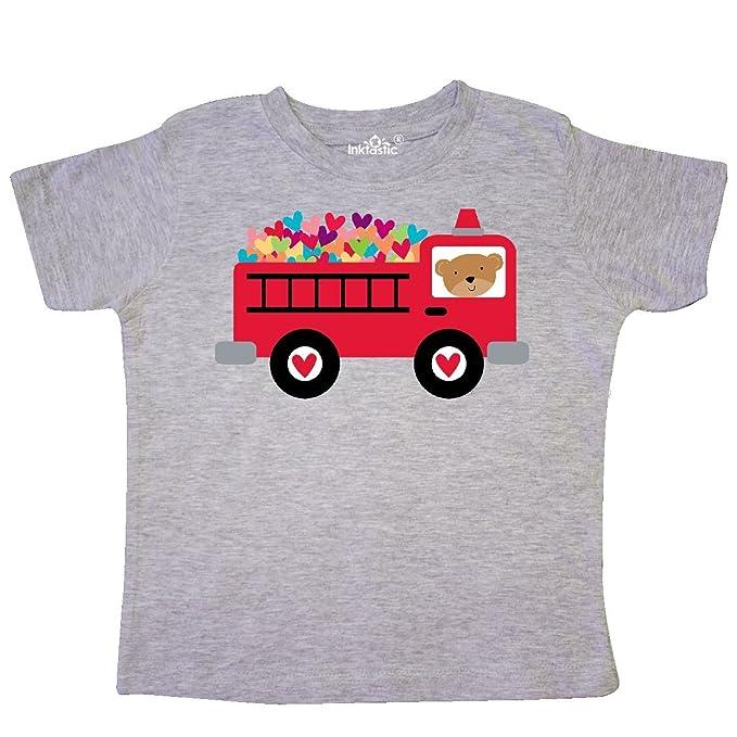be5adefc inktastic - Valentine Fire Truck Heart Bear Toddler T-Shirt 2T Heather Grey  c3ef