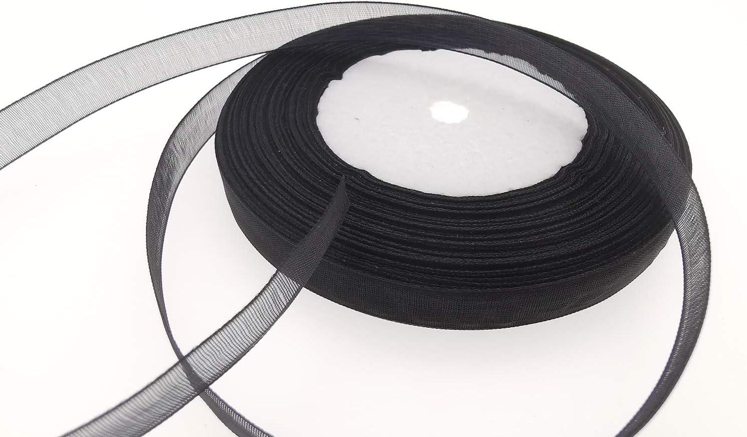 Black, 1//2 x 50 Yards Dxeud Sheer Organza Ribbon