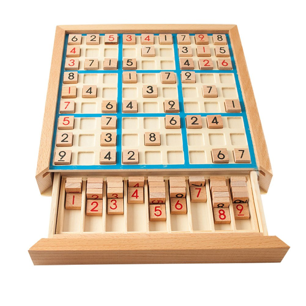 Wooden Sudoku Game,NACOLA Puzzle Game with Wooden Number and Thinking Tiles/Board Games by NACOLA
