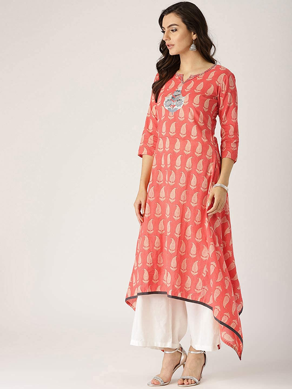 cf89e357a43 Amazon.com  Leda Coral Printed Indian Pakistani Kurtis Ethnic Kurti Women  Dress  Clothing