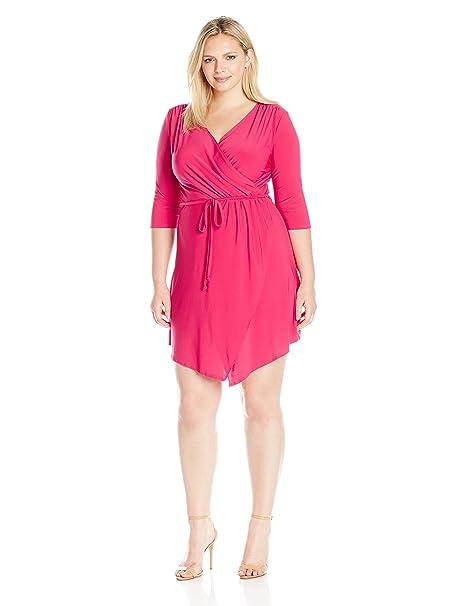 Star Vixen Women\'s Plus-Size 3/4 Sleeve Wrap Bodice Short Ity Knit  Ballerina Dress