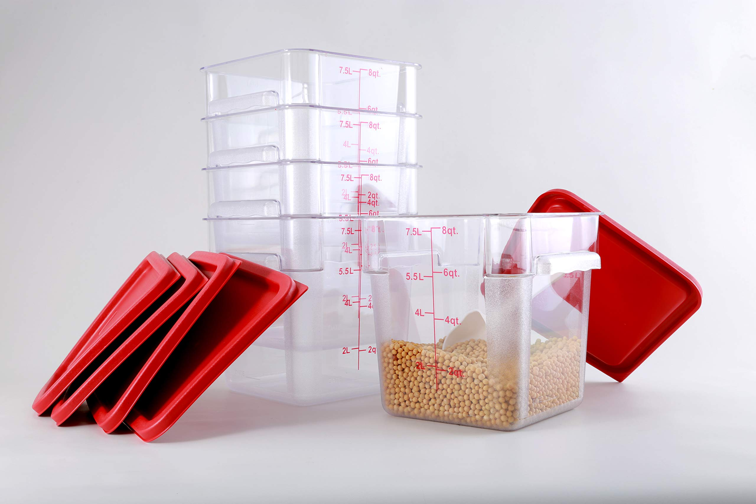Hakka 8 Qt Commercial Grade Square Food Storage Containers with Lids,Polycarbonate,Clear - Case of 5
