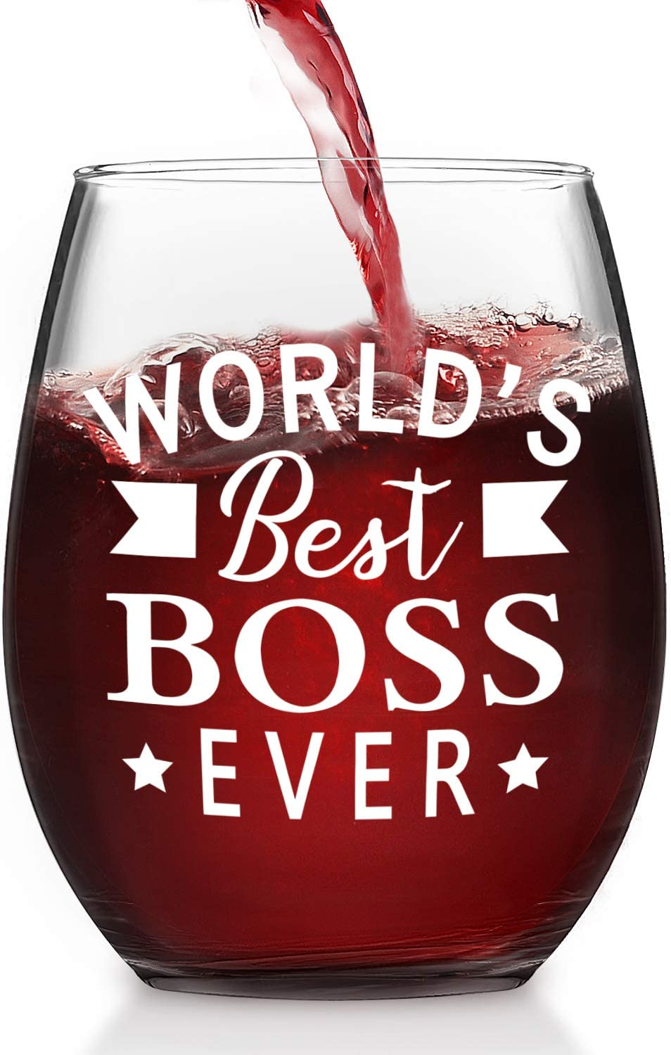World's Best Boss Ever Stemless Wine Glass, Bosses Day Gifts for Men Women Male Female Bosses Coworkers Bosses Day Christmas Birthday Party, 15 Oz Wine Glass for Red White Wine, Office or Daily Use