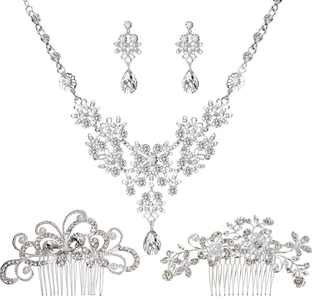 Jaciya 2pcs Bridal Wedding Hair Comb with 1 Set Wedding Necklace Earrings Alloy Rhinestone Crystal Necklace Head Pin Headpiece Bridal Wedding Jewelry Set