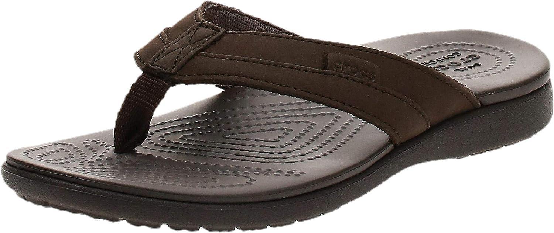 Crocs Santa Cruz Leather Flip M Chaussures de Plage /& Piscine Homme